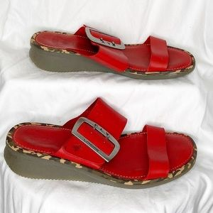Fly London Cape Slide Red Leather Sandals 7 37